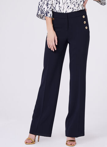 Wide Leg Button Detail Soho Pants, Blue, hi-res
