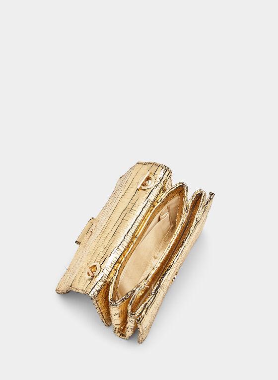 Crystal Embellished Metallic Clutch, Gold, hi-res