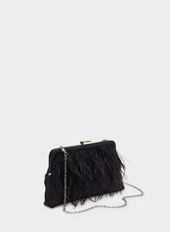 Feather Embellished Satin Clutch, Black,