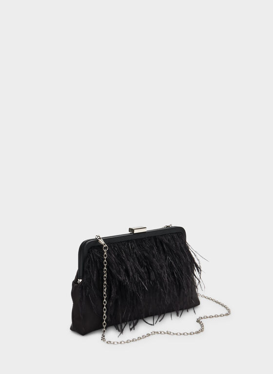 Feather Embellished Satin Clutch, Black, hi-res