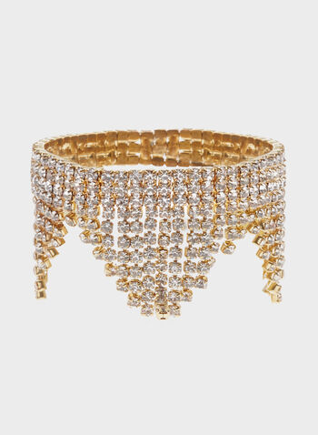 Crystal Fringe Stretch Bracelet, Gold, hi-res