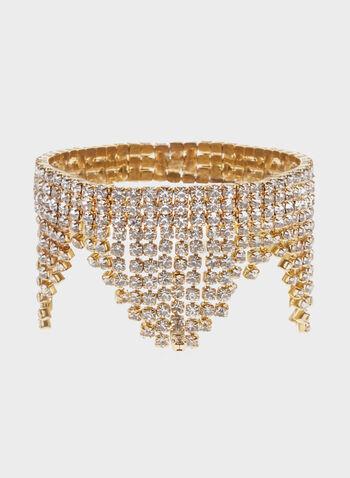 Bracelet extensible asymétrique en strass, Or, hi-res