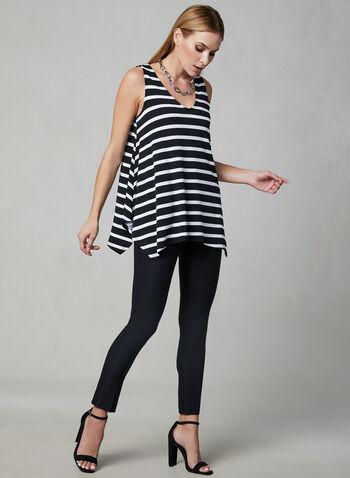 Stripe Print Sleeveless Top, Black, hi-res