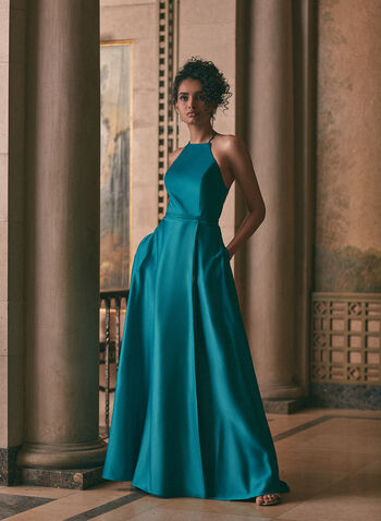 Cachet - Open Back Satin Dress, Green,  prom dress, gown, apron-neck, a-line, satin, open back, lace-up, pockets, floor length, spring summer 2020