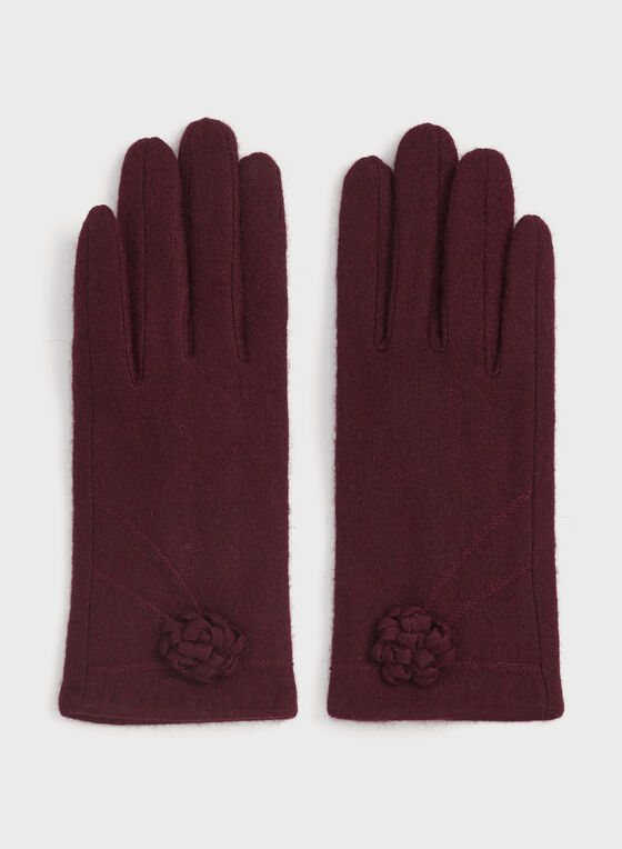 Wool Knit Gloves, Red, hi-res
