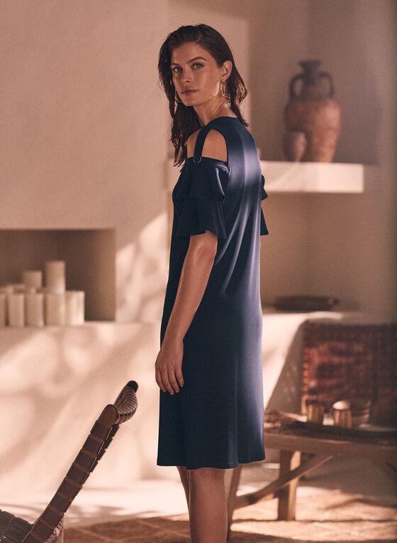 Robe à épaules ajourés et manches étagées, Bleu