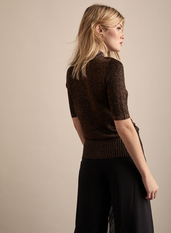 Metallic Knit Short Sleeve Sweater, Black