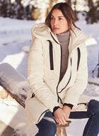 Manteau mi-long matelassé à capuchon, Blanc cassé