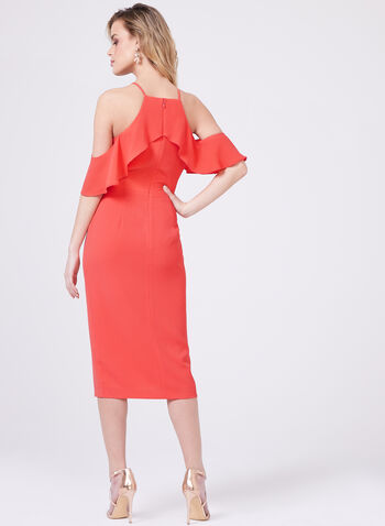 Maggy London - Cold Shoulder Ruffle Trim Dress, Red, hi-res
