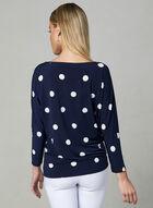 Polka Dot Print Jersey Top, Blue, hi-res