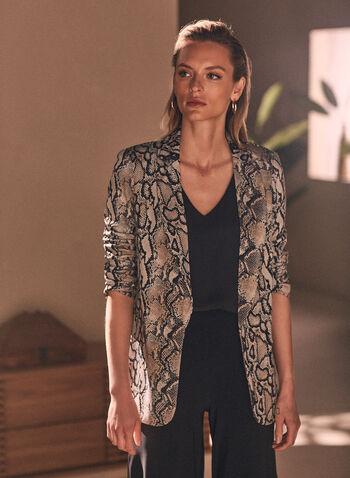 Joseph Ribkoff - Snake Print Open Front Jacket, Black,  jacket, snake print, open front, notch collar, long sleeves, spring summer 2021