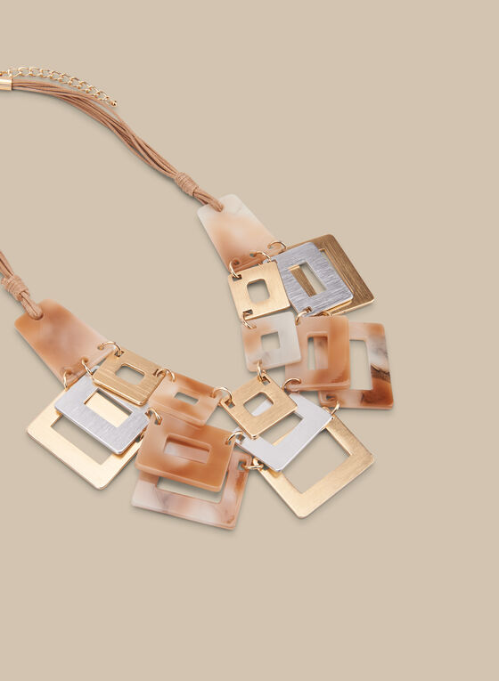Multi Cord Lucite Necklace, Brown