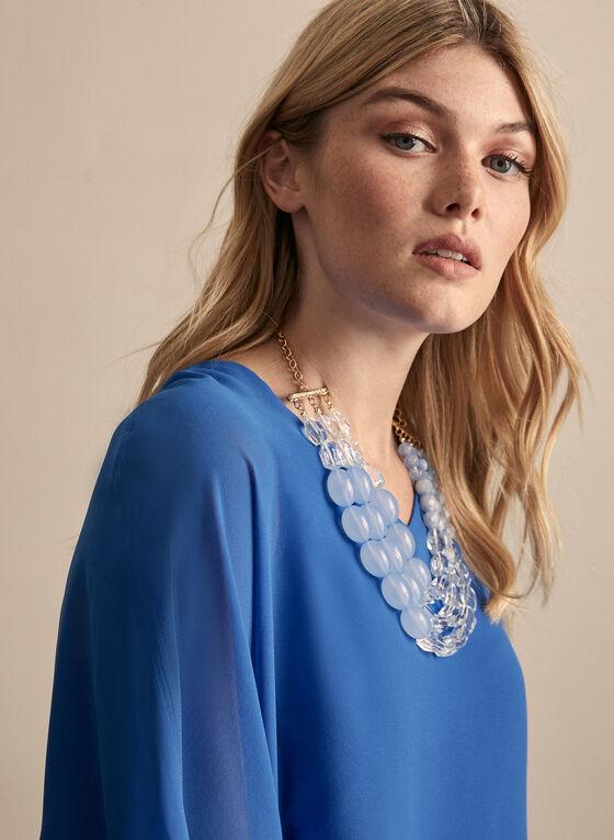 Chiffon Kimono Sleeve Blouse, Blue