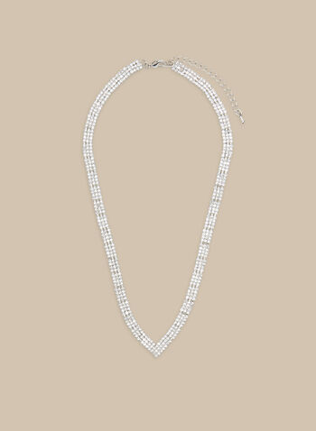 Crystal V Necklace, Silver,  necklace, v necklace, v shaped, crystals, crystal necklace, spring 2020, summer 2020