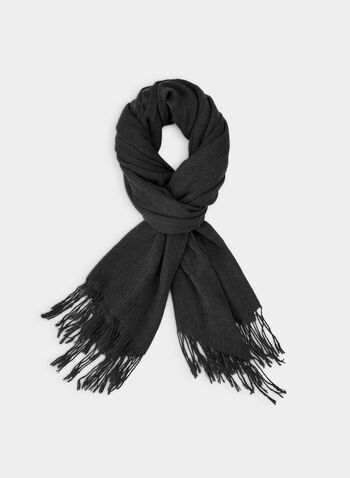 Pashmina-Style Wrap, Black,  wrap, scarf, pashmina, fringes, fall 2019, winter 2019