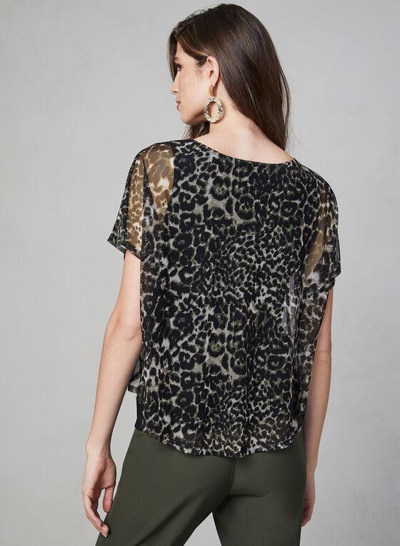 Leopard Print Mesh Top, Green, hi-res