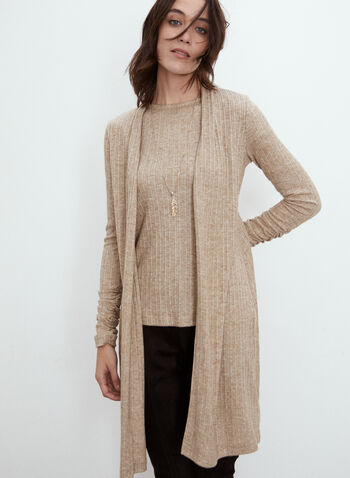 Long Ribbed Knit Cardigan, Beige,  fall 2021, made in canada, sweater, cardigan, top, shirt, long sleeves, open front, gathered, details, cuffs, ribbed, knit, fabric, comfortable