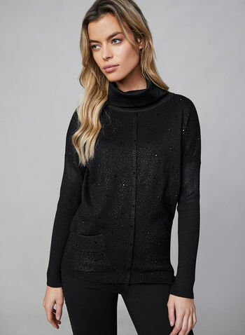 Rhinestone Long Sleeve Top , Black, hi-res,  long sleeves, rhinestone, cowl neck, metallic, textured sleeves, patch pockets, fall 2019, winter 2019