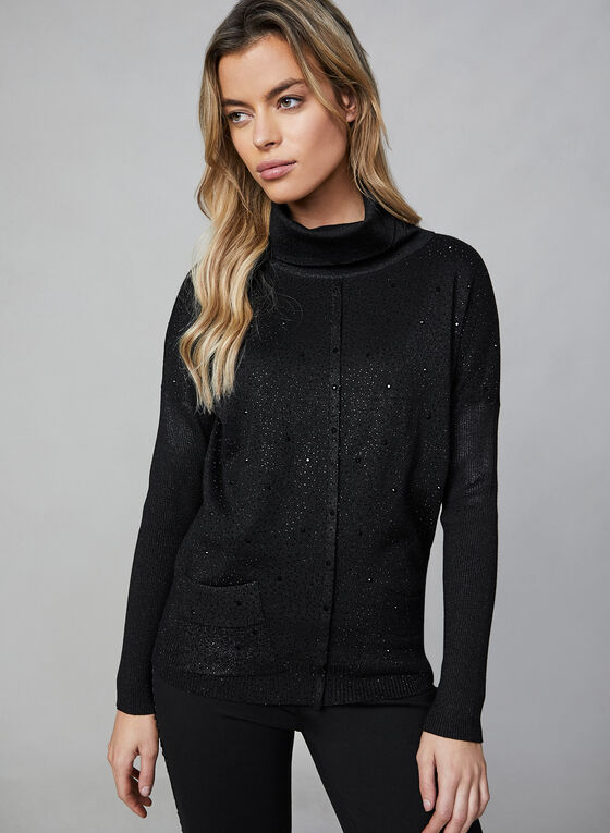 Rhinestone Long Sleeve Top , Black