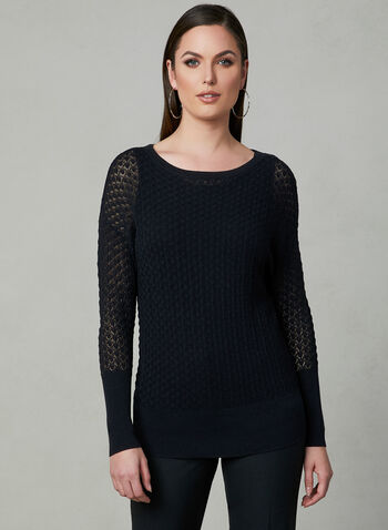 Pointelle Knit Sweater, Black, hi-res