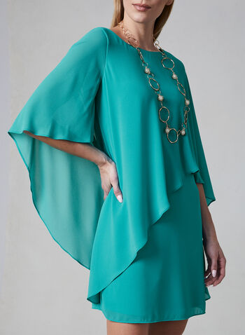 Vince Camuto - Chiffon Poncho Dress, Green, hi-res