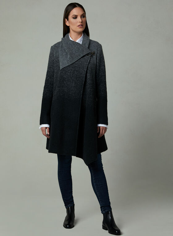 Ombré Shawl Collar Coat, Grey, hi-res