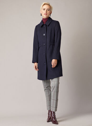 Buttoned Wool Blend Coat, Blue,  fall winter 2020, coat, jacket, buttoned, button front, topcoat, pockets