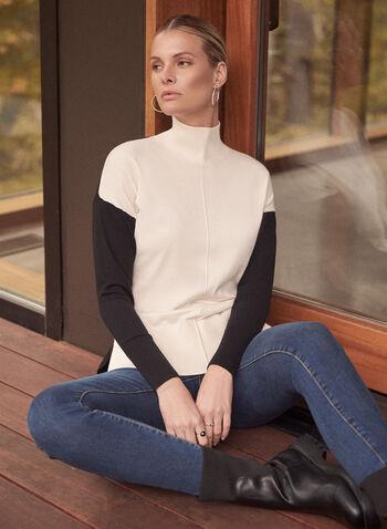 Pull contrastant à col cheminée, Blanc cassé,  automne hiver 2020, pull, tricot, chandail, manches longues, col cheminée, contrastant, deux tons, blocs