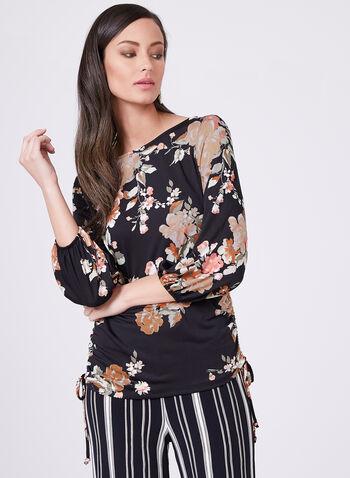 Haut en jersey à motif floral , Noir, hi-res