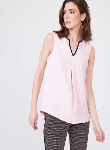 Frank Lyman - Sleeveless V-Neck Blouse , Pink, hi-res