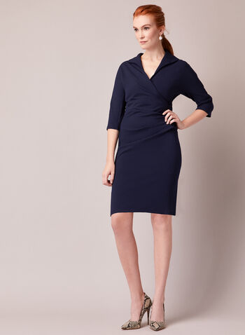 Maggy London - Crepe Dress, Blue,  fall winter 2020, crepe, wrap, 3/4 sleeves, fitted dress, drape, lapel, holiday