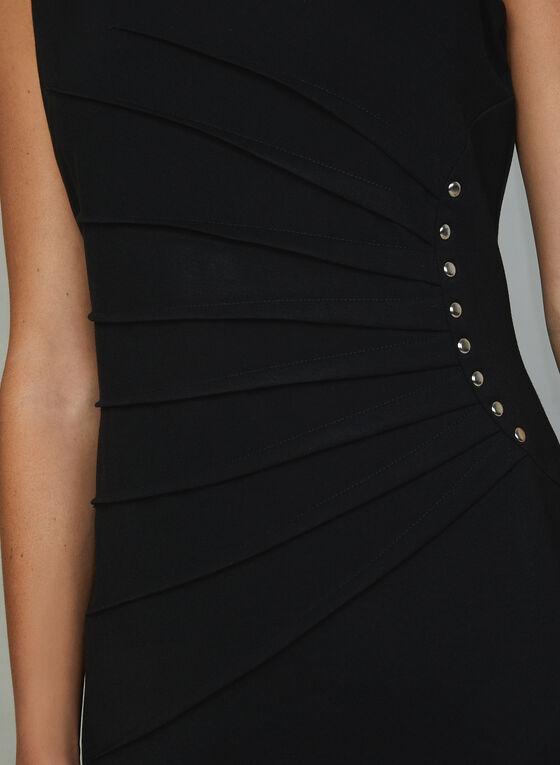 Robe cloutée à effet plissé rayonnant, Noir, hi-res