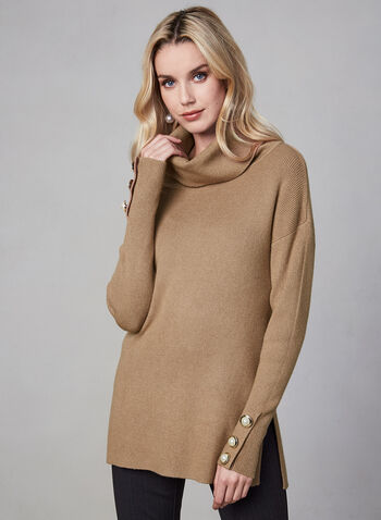 Cowl Neck Sweater, Brown, hi-res,  knit, sweater, cowl neck, long sleeves, buttons, fall 2019, winter 2019