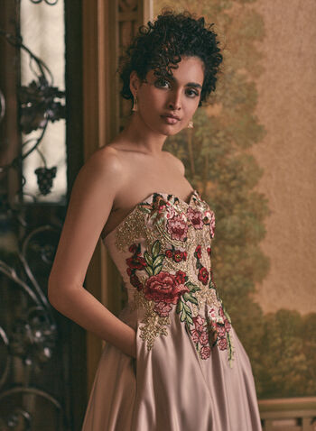 Embroidered Bustier Ball Gown, Off White,  prom dress, ball gown, bustier, floral, rhinestones, embroidery, satin, crinoline, lace-up, pockets, spring summer 2021