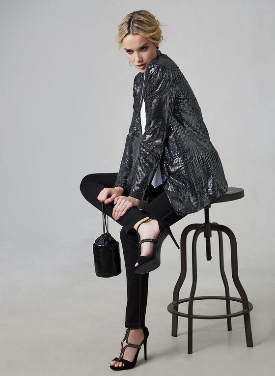 Open Front Sequin Jacket, Silver, hi-res