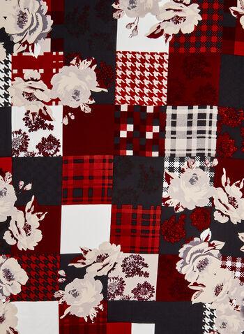 Foulard de soie à carreaux et à fleurs, Noir, hi-res,  pied-de-poule, pied de poule, Prince-de-Galles,imprimé, imprimés, floral, fleurs, automne hiver 2019