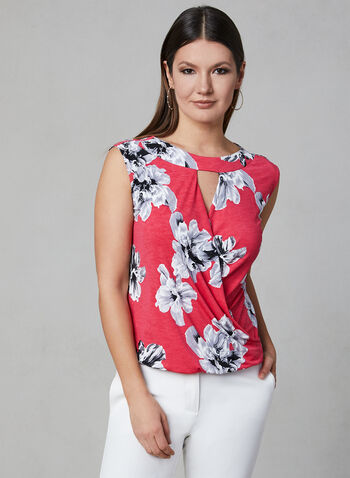 Floral Print Faux Wrap Top, Red, hi-res