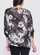 Floral Print Satin Kimono Poncho Top, Brown, hi-res