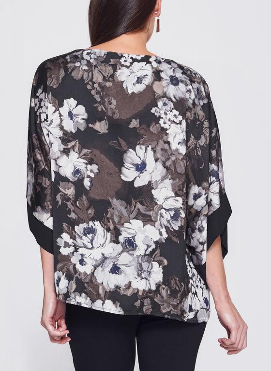 Blouse kimono à motif floral, Brun, hi-res