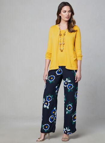 Alison Sheri - Cardigan ouvert à poches, Jaune, hi-res,  cardigan, ouvert, manches longues, poches, printemps 2019