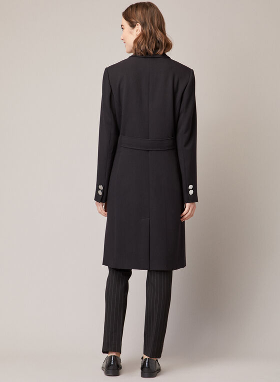 Military Style Notched Collar Coat, Black