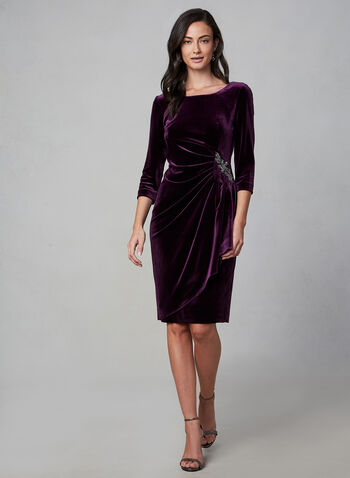 Alex Evenings - Draped Velvet Dress, Purple,  fall winter 2019, long sleeves, 3/4 sleeves, velvet, stretchy, scoop neck, evening dress, cocktail dress