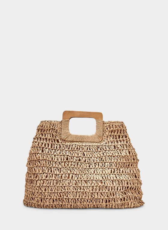 Wood Handle Straw Bag, Off White
