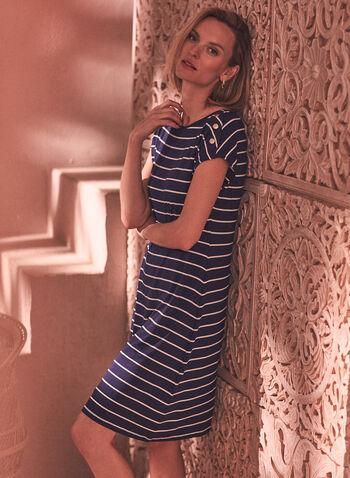 Stripe & Button Detail Dress, Blue,  spring summer 2021, scoop neckline, short dress, day dress, short sleeves, dropped shoulders, fit, flare, buttons, horizontal stripes, striped