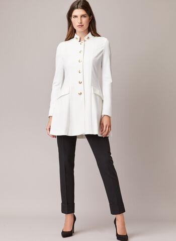 Button Front Redingote, Off White,  redingote, jacket, high collar, flared, pockets, spring summer 2020