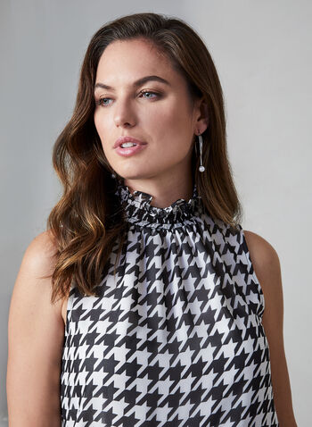 Vince Camuto - Houndstooth Blouse, Black,  Vince Camuto, sleeveless, blouse, top, houndstooth, smocked, mock neck, chiffon, fall 2019, winter 2019