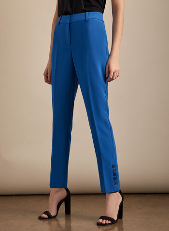 Slim Leg Giselle Pants, Blue,  spring summer 2020, slim leg, Giselle fit, high-rise, button details,