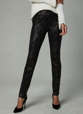 Insight – Abstract Print Straight Leg Pants, Black, hi-res