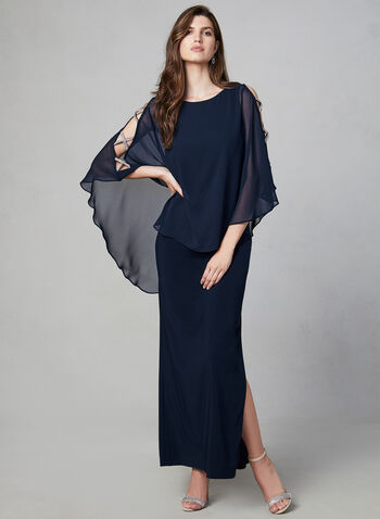 Xscape - Long Poncho Dress, Blue, hi-res,  fall winter 2019, jersey dress, evening, long, side slit, chiffon poncho, crystal