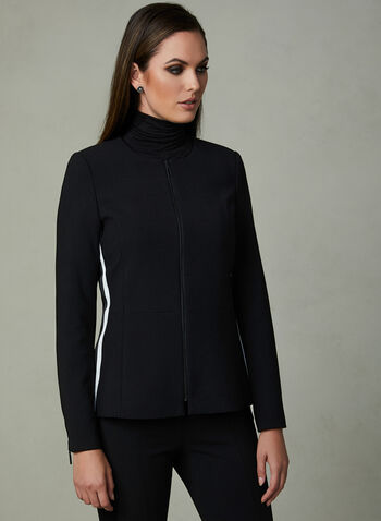 Contrast Trim Jacket, Black, hi-res